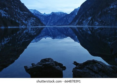 Silent view over the koenigssee from the malerwinkel in a winter evening