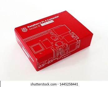 Żory, Silesia / Poland - July 8th, 2019 - Raspberry Pi 4 Computer Model B 1GB RAM in original package box