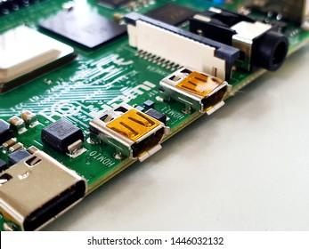 Żory, Silesia / Poland - July 8th 2019: micro HDMI ports on Raspberry Pi 4 Model B single board computer