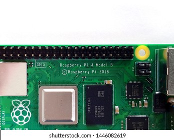 Żory, Silesia / Poland - July 8th 2019: Goldpin connectors on Raspberry Pi 4 Model B Computer board