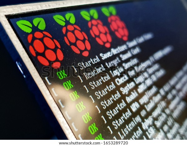 Żory, Silesia / Poland - October 22 2019: Raspberry Pi system booting on small LCD prototype screen
