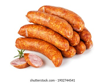 Silesian sausage isolated on white. View from another angle in the portfolio.