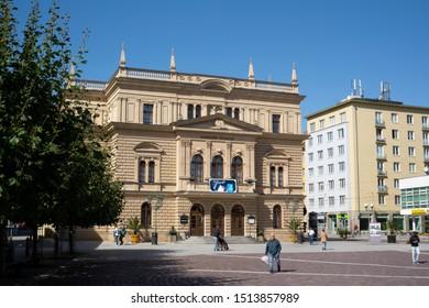 Silesian Theater (Slezske divadlo), Upper square (Horni namesti), Silesia, Opava, Czech republic / Czechia - Sept 21, 2019: Beautiful histoirc building made in style of renaissance revival