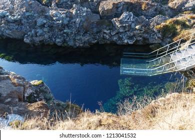 The Silfra fissure, Þingvellir, where the European and American Plates meet. Thingvellir National Park near Reykjavik, Iceland