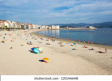 Silgar beach in Sanxenxo touristic city at summer