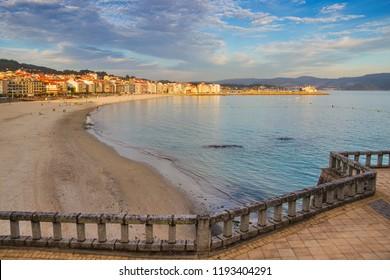 Silgar beach and seafront of Sanxenxo touristic city