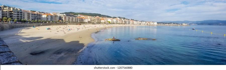 Silgar beach and seafront of Sanxenxo touristic city panoramic view