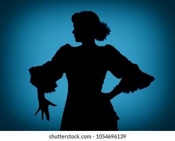 Silhoeutte shot like in the old days; a spanish dancer backlit
