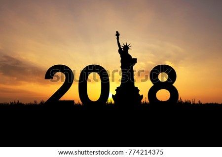 silhouette of 2018 The New Year's Country Identity Buildings