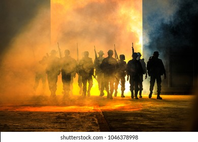 silhouette action soldiers walking hold weapons the background is smoke and light full color and white balance ship effect dark art style