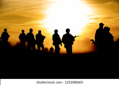 silhouette action soldiers walking hold weapons the background is smoke and sunset and white balance ship effect dark art style