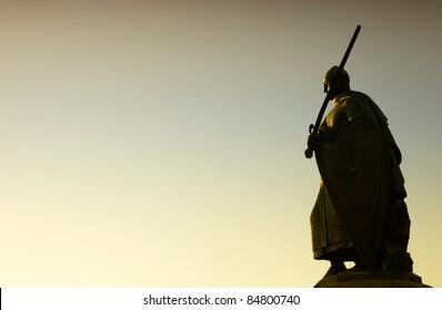 Silhouette of Afonso Henriques statue in Guimaraes Portugal. European Capital of Culture 2012