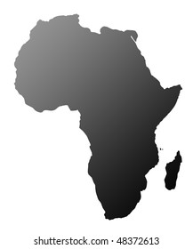 Silhouette of African continent, isolated on white background.