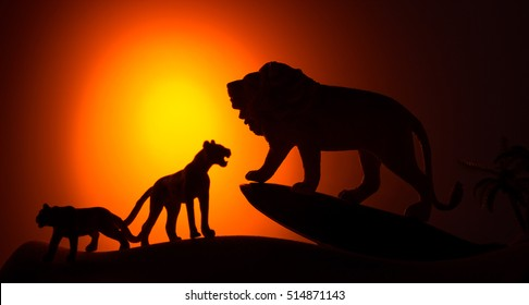 silhouette of african male and female lion