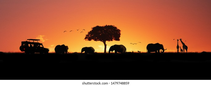 Silhouette of African safari scene with wildlife and  tourist vehicle. Horizontal web banner
