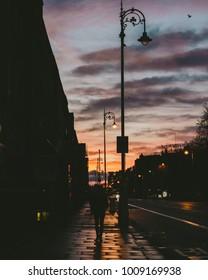 Silhouette against sunrise
