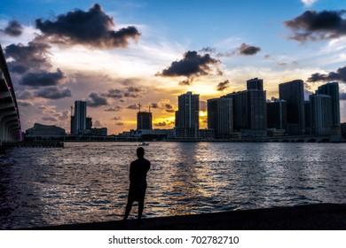 Silhouette Against Waterfront Skyline