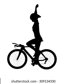 A silhouette against a white background of a female bike rider sitting on a bicycle with a helmet on and both her hands raised in the air as in gesture of winning a race.