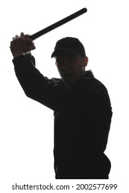 Silhouette of aggressive police officer with baton on white background