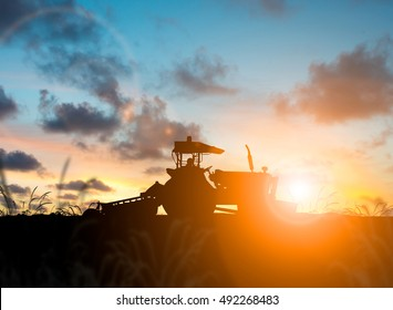 silhouette agricultural harvest farming by tractor The growth of the agricultural world.
