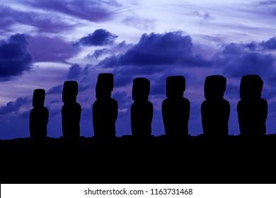 Silhouette of Ahu Tongariki during sunrise on Easter Island.
