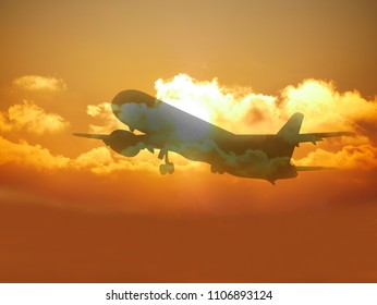 the silhouette of the aircraft at sunset