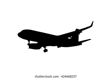 Silhouette airplane isolated on white background, Clipping path