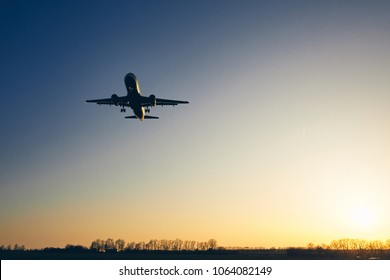 Silhouette of the airplane landing against moody sky at golden sunset.