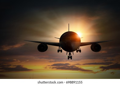Silhouette of airplane in sky. Mixed media