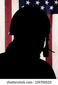 Silhouette of american soldier
