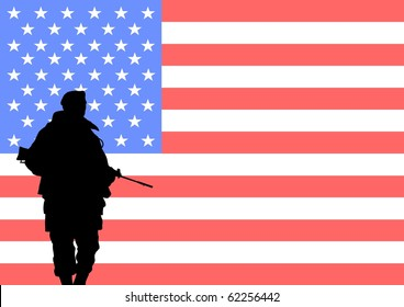Silhouette of an American soldier with the flag of the United States in the background
