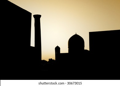 silhouette of an ancient historical oriental town