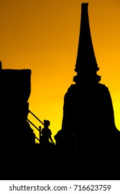 The silhouette of ancient temple at ayutthaya.