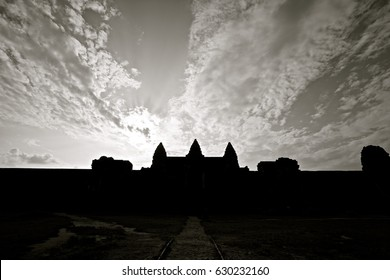 Silhouette of Ang Kor Wat, Cambodia.