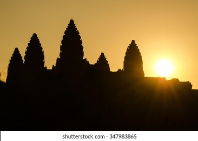 Silhouette of Angkor Wat at sunrise in Cambodia