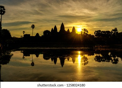 Silhouette of Angkor Wat Temple with rising sun, Siem Reap, Cambodia