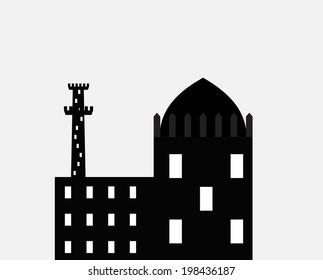 Silhouette of Arab buildings, sea, clouds.