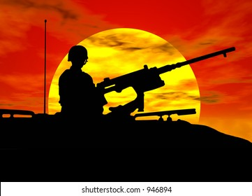 A silhouette of an army gunner on a tank