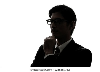 Silhouette of asian businessman.