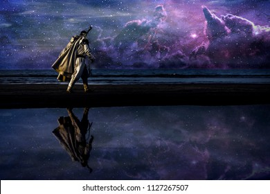 Silhouette of assassin in white costume walking by the night at the sea with sword. Beautiful and colorful galaxy on the sky on background.