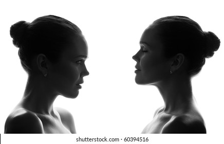 silhouette of attractive caucasian woman isolated on white background
