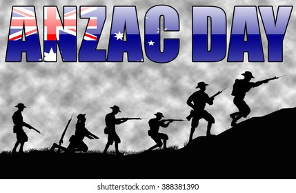 A silhouette of Australian soldiers.  April 25th is ANZAC day.