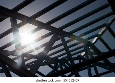 Silhouette background, Structure of steel roof frame for building construction,