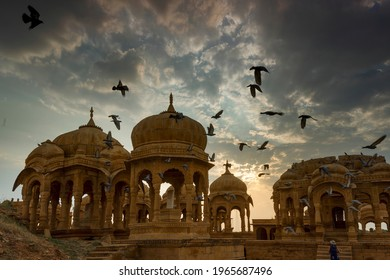 Silhouette of Bada Bagh or Barabagh, means Big Garden, is a garden complex in Jaisalmer, Rajasthan, India, for Royal cenotaphs of Maharajas means Kings of Jaisalmer state. Tourist attraction.