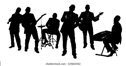 silhouette Band playing isolated on white