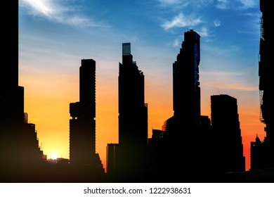 silhouette Bangkok Cityscape Skyline in sunrise , Business district with high building
