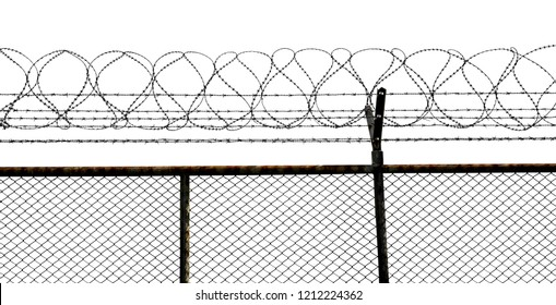 Silhouette of barbed wire fence isolated on white background