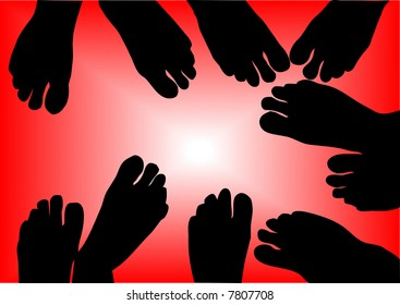 silhouette of bare-foots illustration
