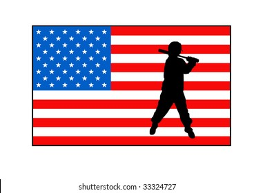 Silhouette of baseball player on American flag, isolated over white background.