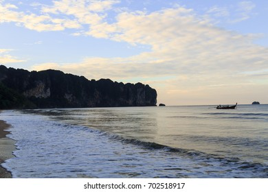 Silhouette beautiful beach with sky and cloudy background at Ao Nang beach in Krabi province, Thailand